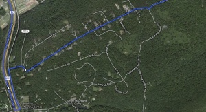 Via Google Maps: the idiotic route my beloved Siri had me take.